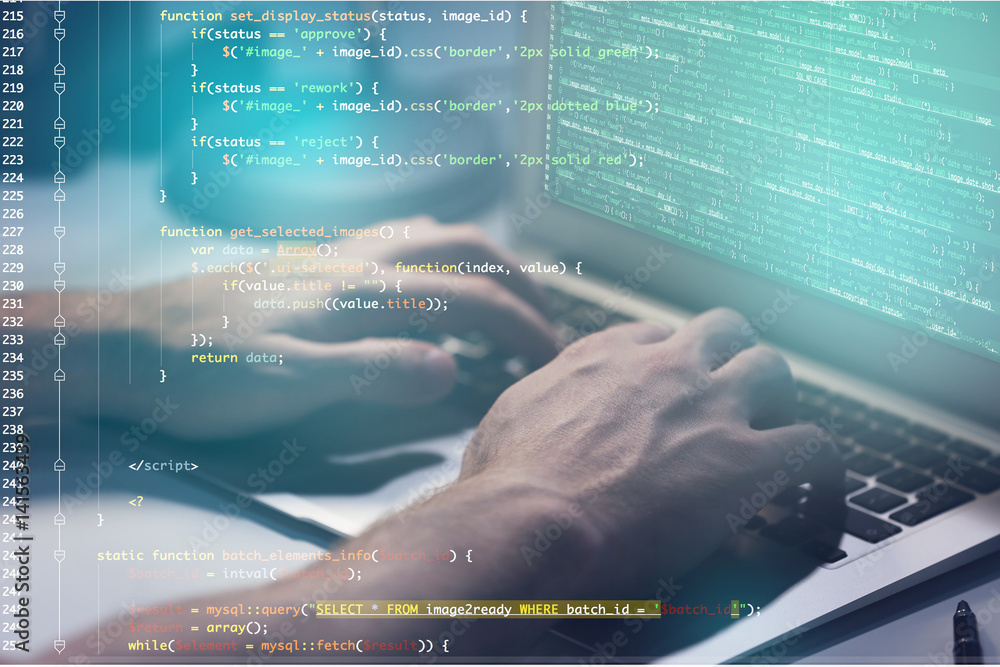 Fototapety, obrazy: Program development concept. Young man working with laptop