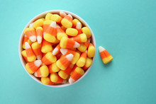Bowl With Tasty Halloween Cand...