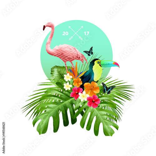 Foto  An attractive arrangement of tropical floral elements including palm leaves, birds and flowers