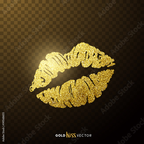 Gold and glittering glamorous kissing shaped lips. Tableau sur Toile