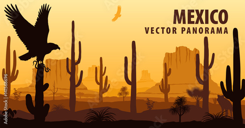 In de dag Bruin vector panorama of Mexico with eagle in desert