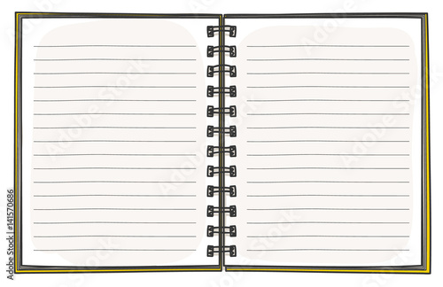 Template Notebook Hand Drawn Diary Business Notepad Cover Design Vector Art Illustration