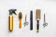 hair cutting preparation with hairdresser tools on desk background top view mockup