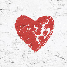 Grunge Red Heart On Monochrome Distressed Background.