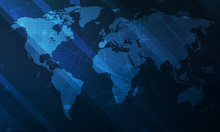 Abstract Blue World Map Backgr...