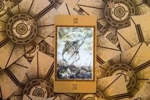 Tarot Card Death. Labirinth Tarot Deck. Esoteric Background.