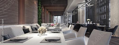 Fotobehang Restaurant Modern concept design of restaurant lounge 3D Render
