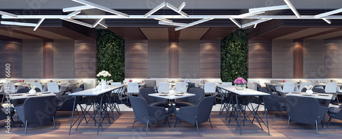 Photo sur Aluminium Restaurant Modern concept design of restaurant lounge 3D Render