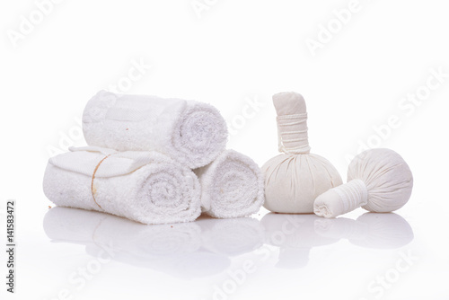 Fotobehang Spa spa theme objects on white background