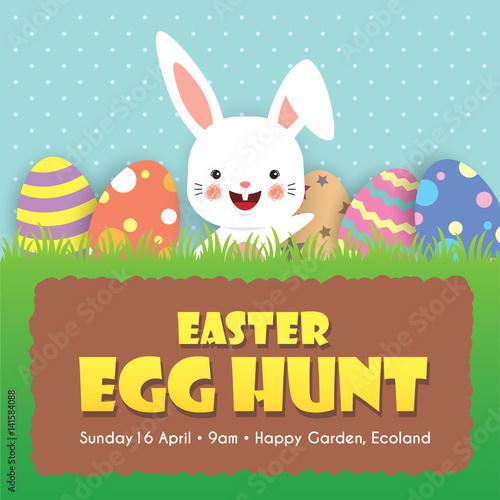 Easter Egg Hunt Invitation Template Design Cute Cartoon Rabbit And