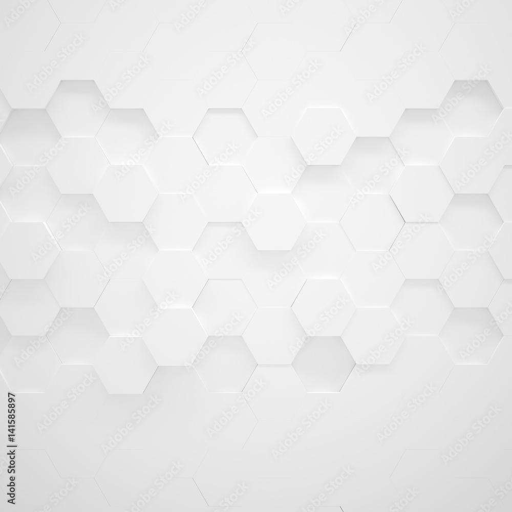 Fototapety, obrazy: White Hexagon Texture