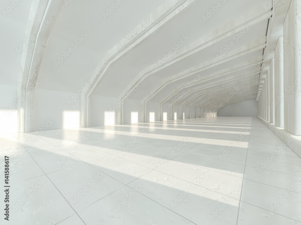 Fototapeta White architecture background. Abstract architectural interior. 3D rendering.