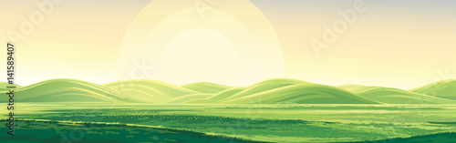 Poster Beige Summer rural landscape, dawn above hills, elongated format.