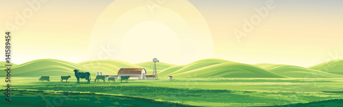 Summer rural landscape from cows and farm, dawn above hills, elongated format.