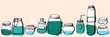 Hand Drawn Contour Style Jars ...