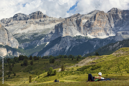 Papiers peints Detente Relax during a hiking in Pralongiá, Badia Valley, Dolomites, Italy,