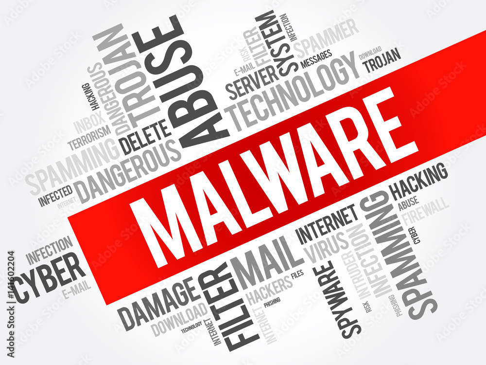 Fototapeta Malware word cloud collage, computer business concept background