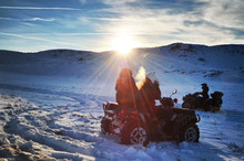 Driving Quad Bike On Snow At T...