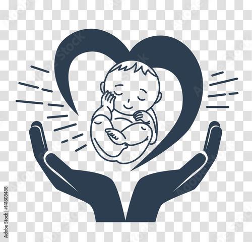 Fotografie, Obraz  silhouette icon of the birth of a child
