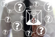 3D Printing FAQ concept. Frequently asked question - search information. Man touched 3d printer icon on virtual screen on background of questions. Support Q&A center quide technology
