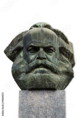 Papiers peints Commemoratif Karl Marx Kopf in Chemnitz isoliert