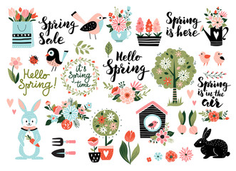 FototapetaSpring set, hand drawn elements- calligraphy, flowers, birds, wreaths, and other. Perfect for web, card, poster, cover, tag, invitation, sticker kit. Vector illustration