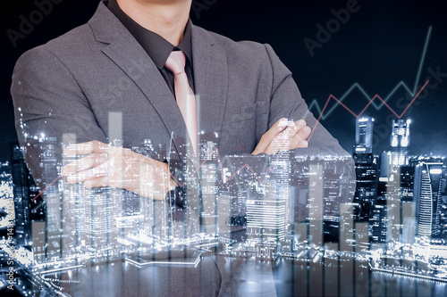 Fototapeta Technology and multi media concept, Mixed media of technology background and business man   obraz na płótnie