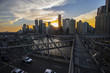View from the top of Brisbane Story Bridge, with a colourful sunset over Brisbane City