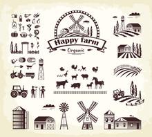 Set Of Happy Farm Organic Production Cartoon Style