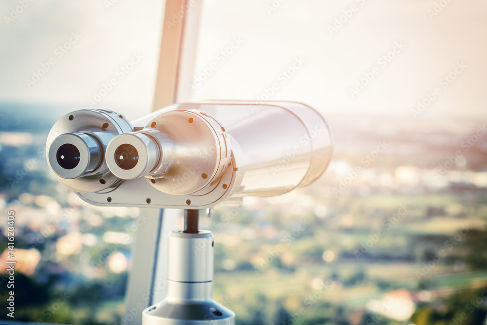 Fototapety, obrazy: binocular on the top of building