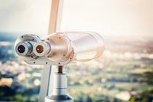 Binocular On The Top Of Building