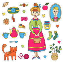 Cute Retro Vintage Lady Woman Girl And Her Beloved Things Cat Flower Pot Tableware Cake Portrait Doodle Vector Set