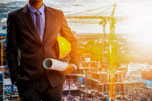 architect engineer on construction site background Fototapeta