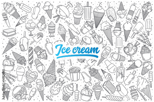 In de dag Boho Stijl Hand drawn ice cream doodle set background with blue lettering in vector