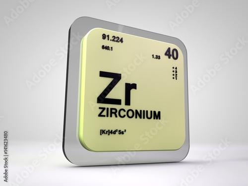 Fotografia, Obraz  Zirconium - Zr - chemical element periodic table 3d render