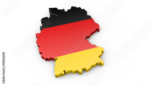 Fotografie, Obraz  3D Karte von Deutschland - Umriss oder Kontur von Deutschland