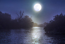 River At Night With A Full Moon