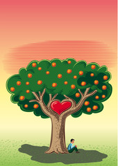 Man sitting in the shade of the tree of love.