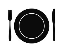 Cutlery. Plate Fork And Knife Vector Silhouette
