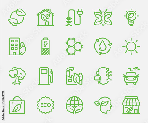 Ecology set line icon Wall mural