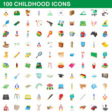 100 Childhood Icons Set, Carto...