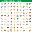 100 stereotype icons set, cartoon style