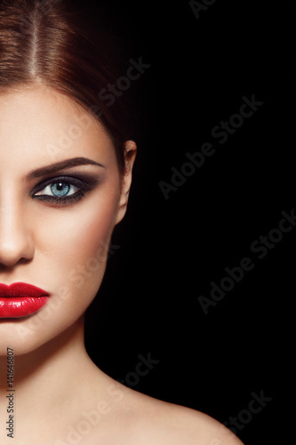 Fototapety, obrazy: Face of young beautiful woman with smoky eyes and red lipstick, copy space