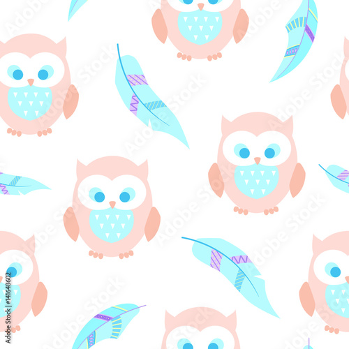 Cotton fabric Cute seamless background with owls and feathers. Boho and cartoon style. Irregular.