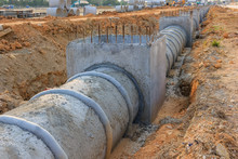 Concrete Drainage Pipe And Man...