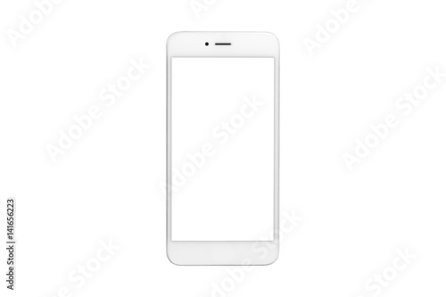 Photo  White smartphone with blank screen on isolated white background