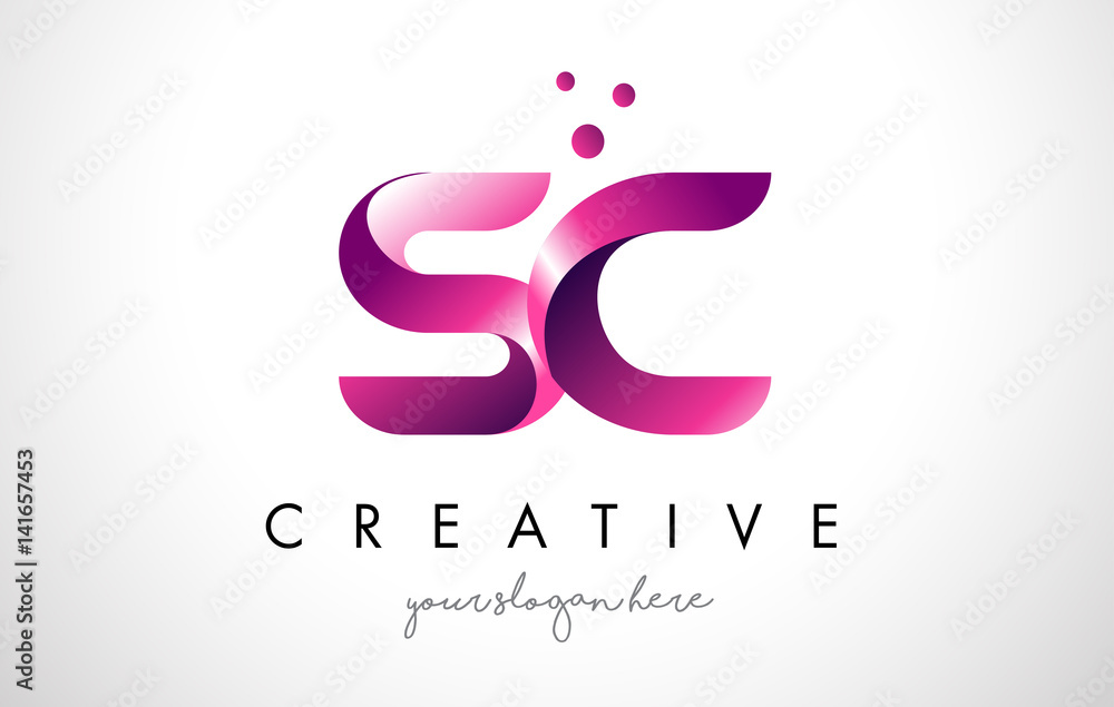 Sc Letter Logo Design With Purple Colors And Dots Foto