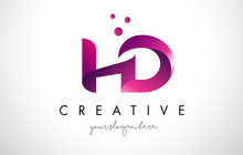 HD Letter Logo Design With Purple Colors And Dots
