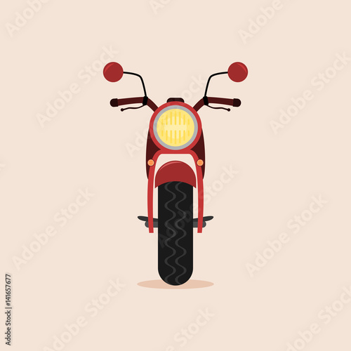 Photo  Red cartoon motorcycle - front view