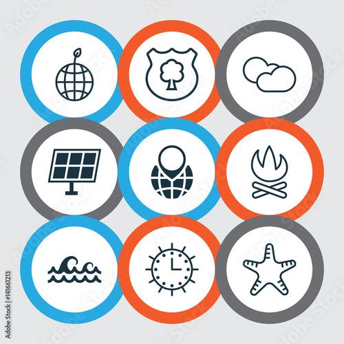 Set Of 9 Eco-Friendly Icons Canvas Print